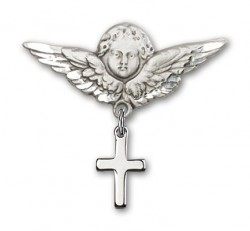 Baby Pin with Cross Charm and Angel with Larger Wings Badge Pin [BLBP0095]