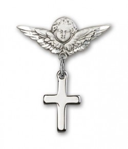 Baby Pin with Cross Charm and Angel with Smaller Wings Badge Pin [BLBP0096]