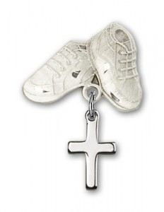 Baby Pin with Cross Charm and Baby Boots Pin [BLBP0098]