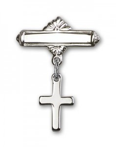 Baby Pin with Cross Charm and Polished Engravable Badge Pin [BLBP0092]