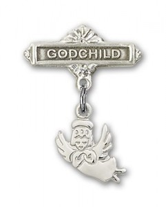 Baby Pin with Guardian Angel Charm and Godchild Badge Pin [BLBP0111]