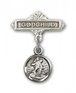 Baby Pin with Guardian Angel Charm and Godchild Badge Pin [BLBP0118]