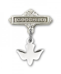 Baby Pin with Holy Spirit Charm and Godchild Badge Pin [BLBP0027]