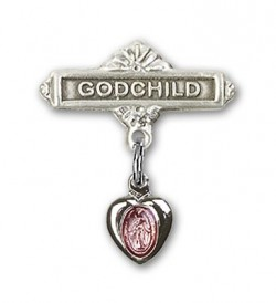 Baby Pin with Pink Miraculous Heart Shaped Charm and Godchild Badge Pin [BLBP0012]