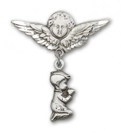 Baby Pin with Praying Boy Charm and Angel with Larger Wings Badge Pin [BLBP0198]