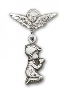 Baby Pin with Praying Boy Charm and Angel with Smaller Wings Badge Pin [BLBP0199]