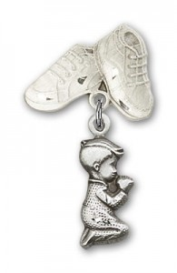 Baby Pin with Praying Boy Charm and Baby Boots Pin [BLBP0201]