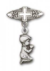 Baby Pin with Praying Boy Charm and Badge Pin with Cross [BLBP0196]