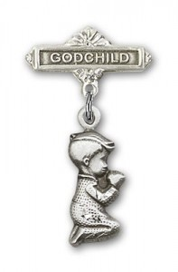 Baby Pin with Praying Boy Charm and Godchild Badge Pin [BLBP0200]