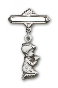 Baby Pin with Praying Boy Charm and Polished Engravable Badge Pin [BLBP0195]