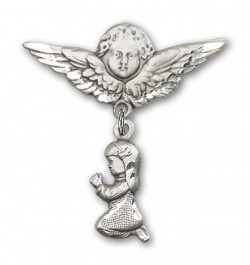 Baby Pin with Praying Girl Charm and Angel with Larger Wings Badge Pin [BLBP0191]