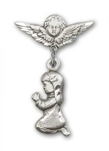 Baby Pin with Praying Girl Charm and Angel with Smaller Wings Badge Pin [BLBP0192]