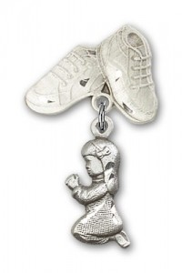 Baby Pin with Praying Girl Charm and Baby Boots Pin [BLBP0194]