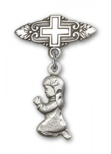 Baby Pin with Praying Girl Charm and Badge Pin with Cross [BLBP0189]