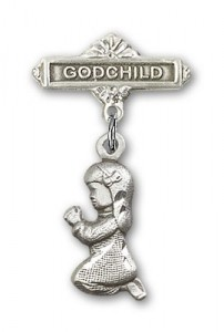 Baby Pin with Praying Girl Charm and Godchild Badge Pin [BLBP0193]