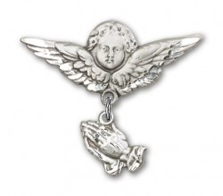 Baby Pin with Praying Hands Charm and Angel with Larger Wings Badge Pin [BLBP0018]