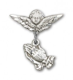 Baby Pin with Praying Hands Charm and Angel with Smaller Wings Badge Pin [BLBP0019]