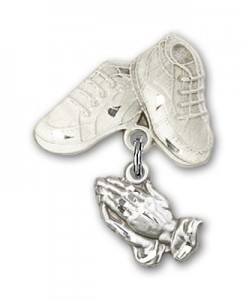 Baby Pin with Praying Hands Charm and Baby Boots Pin [BLBP0021]