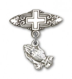 Baby Pin with Praying Hands Charm and Badge Pin with Cross [BLBP0016]