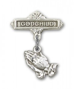 Baby Pin with Praying Hands Charm and Godchild Badge Pin [BLBP0020]