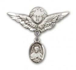 Baby Pin with Scapular Charm and Angel with Larger Wings Badge Pin [BLBP0078]