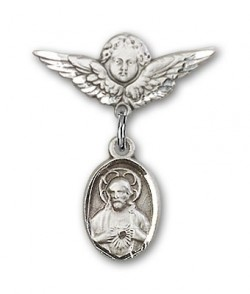 Baby Pin with Scapular Charm and Angel with Smaller Wings Badge Pin [BLBP0079]
