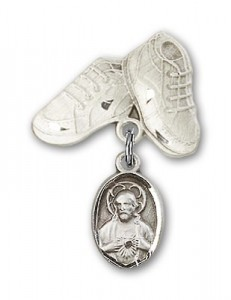 Baby Pin with Scapular Charm and Baby Boots Pin [BLBP0084]