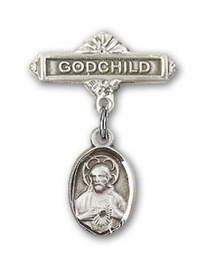 Baby Pin with Scapular Charm and Godchild Badge Pin [BLBP0082]