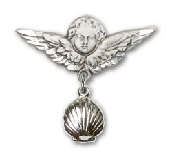 Baby Pin with Shell Charm and Angel with Larger Wings Badge Pin [BLBP0102]