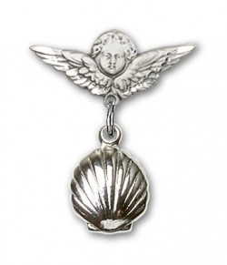 Baby Pin with Shell Charm and Angel with Smaller Wings Badge Pin [BLBP0103]