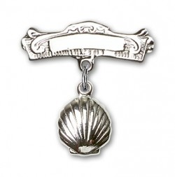 Baby Pin with Shell Charm and Arched Polished Engravable Badge Pin [BLBP0101]