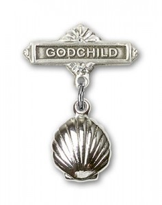 Baby Pin with Shell Charm and Godchild Badge Pin [BLBP0104]
