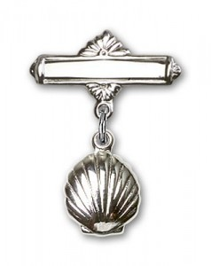 Baby Pin with Shell Charm and Polished Engravable Badge Pin [BLBP0099]