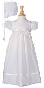 Baptism Dress with Lace Collar and Hem [LTM0681]