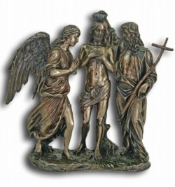 Baptism of Christ Bronzed Resin Statue - 10.75 Inches [GSCH1124]
