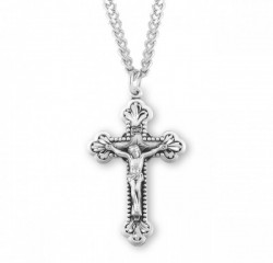 Beaded Edge Lily Tip Men's Crucifix Necklace [HMM3303]