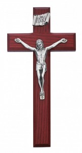 Beveled Cherry Stained Wood Crucifix with Silver-Tone Corpus 8 Inch [CRX4446]
