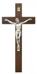 Beveled Walnut With Silver tone Crucifix, 10 Inch [CRXMV002]
