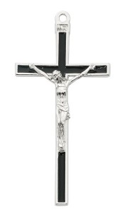 Black Enamel and Silver Tone Wall Cross 5 Inches [MV1002]