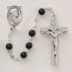 Black Glass First Communion Sacred Heart Rosary - Rhodium [MVC0047]