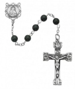 Black Onyx Rosary with Satin Finish Crucifix [RBMV037]