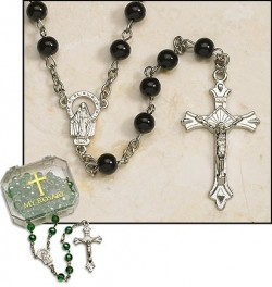 Black Pearl Silver Plated Rosary - 4 per order [MIL2058]