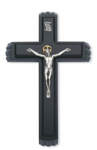 "Black Wood Sick Call Crucifix Set with Two-Tone Corpus - 11""H [MVSC0001]"