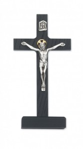 "Black Wood Standing Crucifix with Two Tone Corpus - 8""H [MVCR1032]"