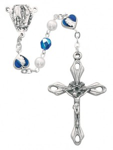 Blue Enamel Our Lady of Lourdes Heart Rosary [MV1233]