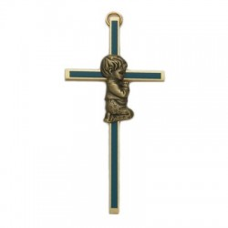 "Blue Enamel Brass Praying Boy Baby Cross - 4""H   [SNCR1053]"