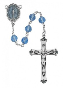 Blue Enamel Miraculous Rosary with Blue Beads [MVRB1146]