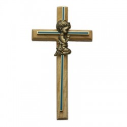 "Blue Enamel Oak Wood Praying Boy Baby Cross - 8""H [SNCR1051]"