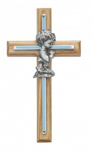Boy Cross - Oak Wood with Silver and Blue Accent [CR3711]