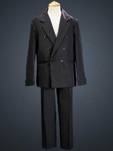 c2a7ffb61 Boy's 2 Piece Double Breasted Black Suit [LBS0113]